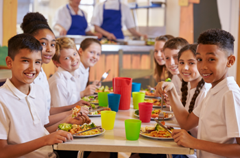 K-12 Students Eating in Cafeteria