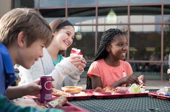 Children Eating Lunch at School