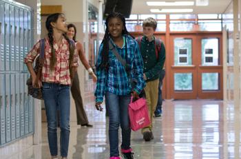 K-12 Students Walking in the Hallway