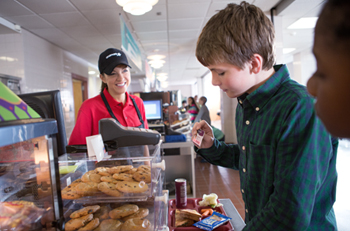 Aramark Employee and Student in Cafeteria Food Line